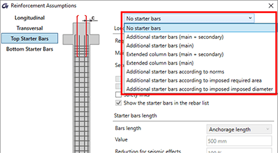 Definition of starter bars in columns